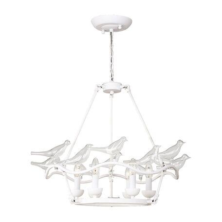 Подвесная люстра Favourite Pajaritos 1751-6P, 6xE14x40W, белый, прозрачный, металл со стеклом/хрусталем