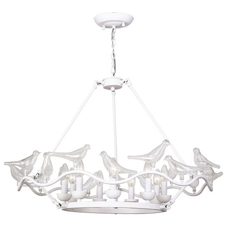 Подвесная люстра Favourite Pajaritos 1751-9P, 9xE14x40W, белый, прозрачный, металл со стеклом/хрусталем