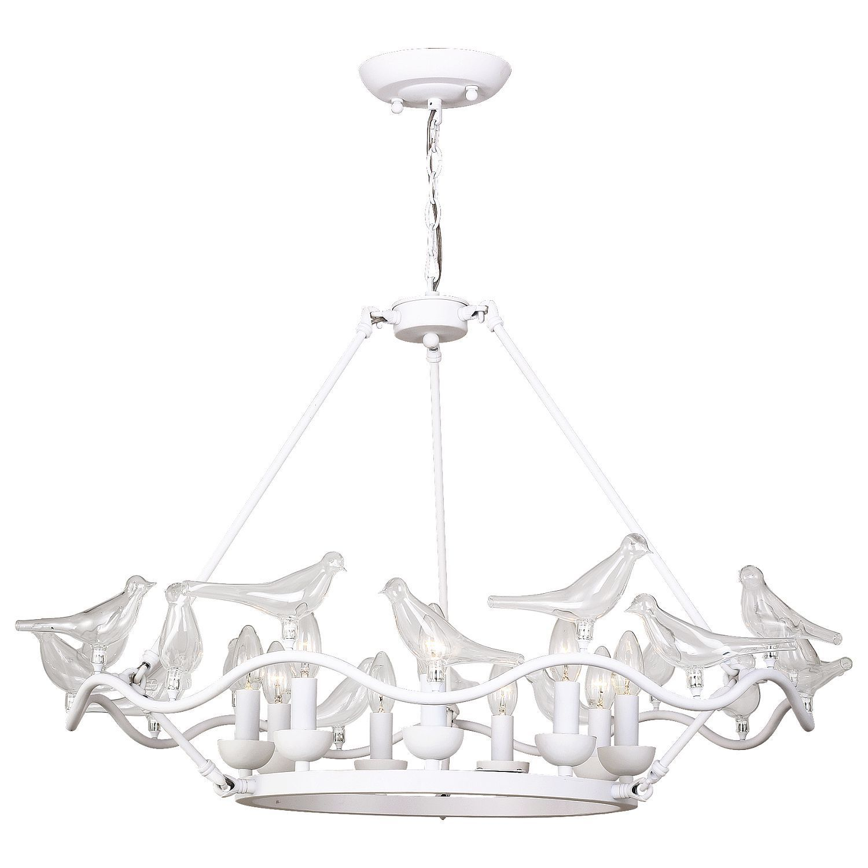 Подвесная люстра Favourite Pajaritos 1751-9P, 9xE14x40W, белый, прозрачный, металл со стеклом/хрусталем - фото 1
