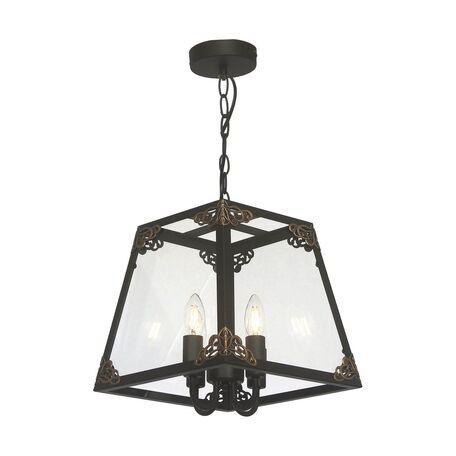 Подвесная люстра Favourite Gloke 1802-4P, 4xE14x40W, черный, коричневый, прозрачный, металл, стекло