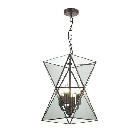Подвесная люстра Favourite Polihedro 1919-4P, 4xE14x40W, черный, дымчатый, прозрачный, металл, стекло