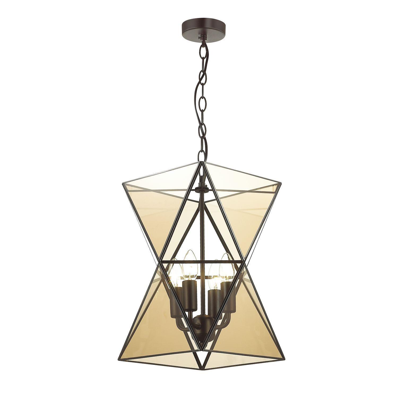 Подвесная люстра Favourite Polihedro 1920-4P, 4xE14x40W, черный, коньячный, прозрачный, металл, стекло - фото 1