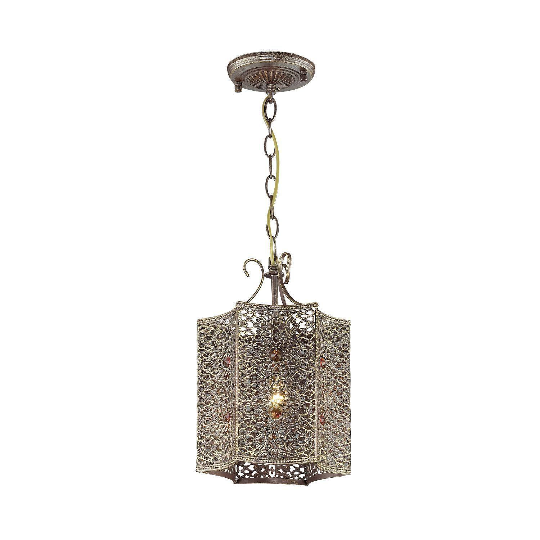 Подвесной светильник Favourite Bazar 1624-1P, 1xE27x60W, коричневый с золотой патиной, коньячный, металл, металл с хрусталем - фото 1