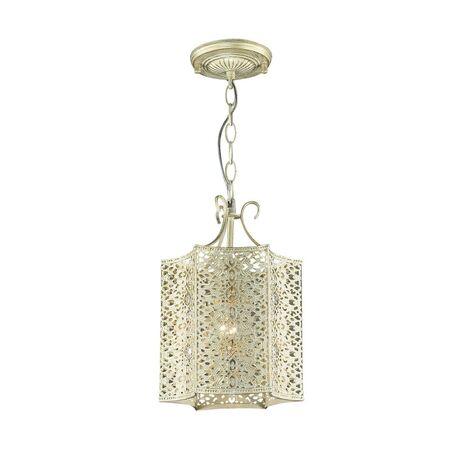 Подвесной светильник Favourite Bazar 1625-1P, 1xE27x60W, белый с золотой патиной, прозрачный, металл, металл с хрусталем