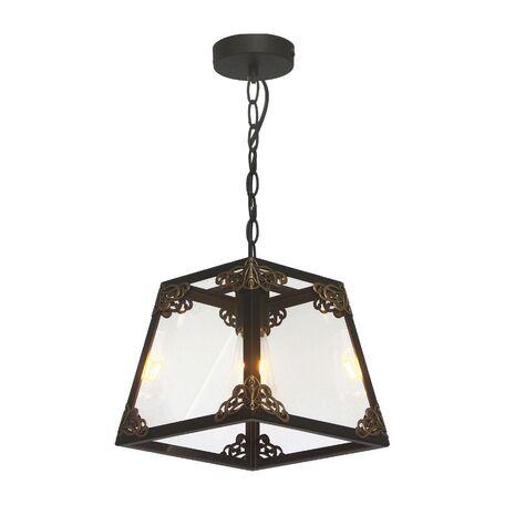 Подвесной светильник Favourite Gloke 1802-1P, 1xE27x60W, черный, коричневый, прозрачный, металл, металл со стеклом