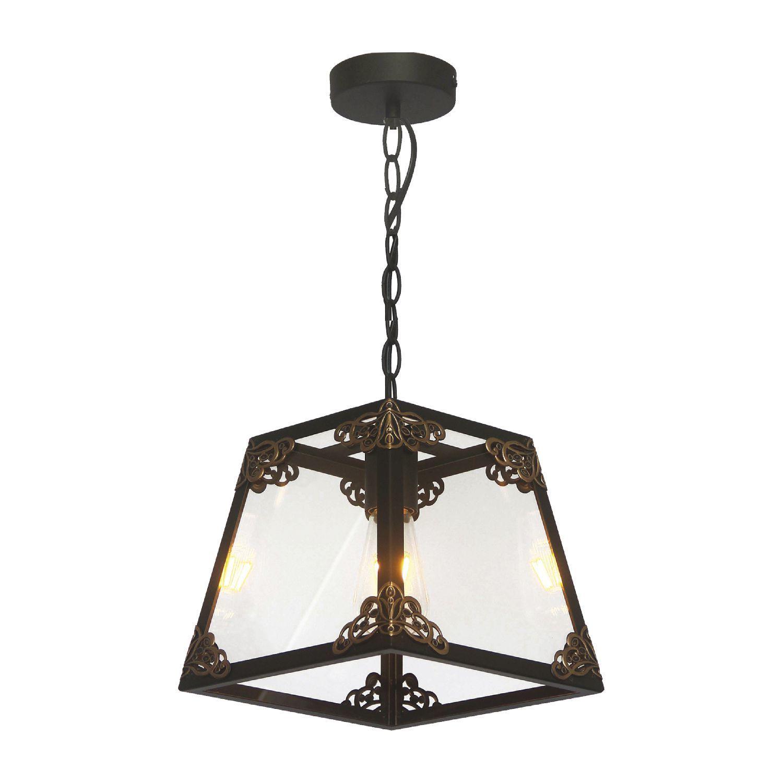 Подвесной светильник Favourite Gloke 1802-1P, 1xE27x60W, черный, коричневый, прозрачный, металл, металл со стеклом - фото 1
