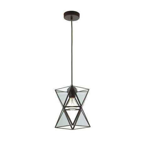 Подвесной светильник Favourite Polihedro 1919-1P, 1xE27x60W, черный, дымчатый, прозрачный, металл, стекло