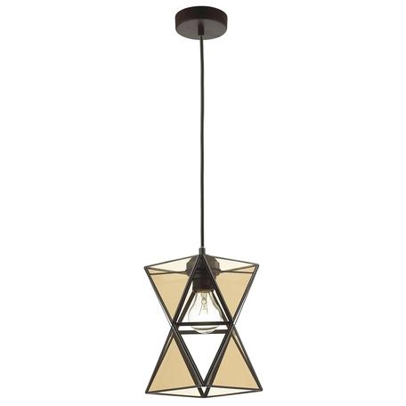 Подвесной светильник Favourite Polihedro 1920-1P, 1xE27x60W, черный, коньячный, прозрачный, металл, стекло