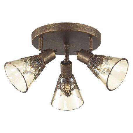 Потолочная люстра с регулировкой направления света Favourite Gumbata 1795-3U, 3xE14x40W, коричневый с золотой патиной, коньячный, металл, стекло
