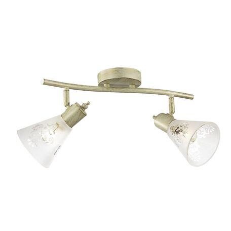 Потолочный светильник с регулировкой направления света Favourite Gumbata 1794-2U, 2xE14x40W, бежевый с золотой патиной, белый, металл, стекло