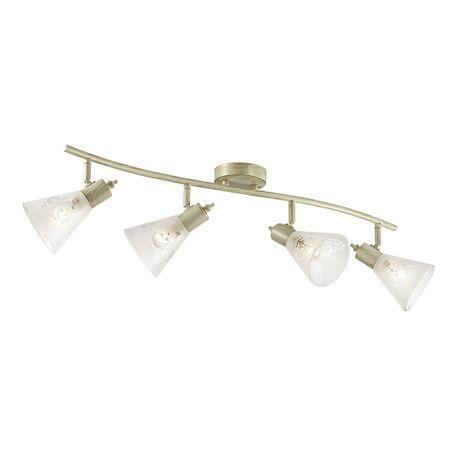 Потолочный светильник с регулировкой направления света Favourite Gumbata 1794-4U, 4xE14x40W, бежевый с золотой патиной, белый, металл, стекло
