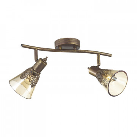 Потолочный светильник с регулировкой направления света Favourite Gumbata 1795-2U, 2xE14x40W, коричневый с золотой патиной, коньячный, металл, стекло
