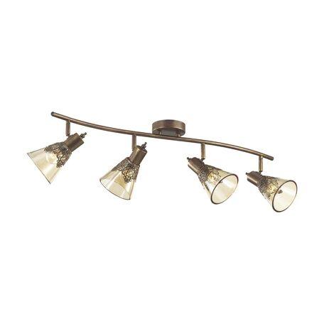Потолочный светильник с регулировкой направления света Favourite Gumbata 1795-4U, 4xE14x40W, коричневый с золотой патиной, коньячный, металл, стекло