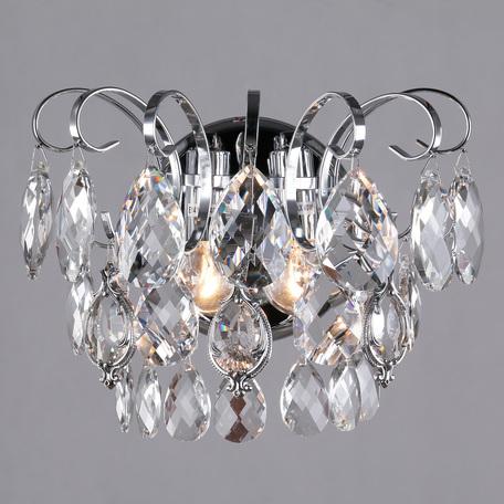 Бра Eurosvet Crystal 10081/2 хром/прозрачный хрусталь Strotskis, 2xE14x60W, хром, прозрачный, металл, хрусталь