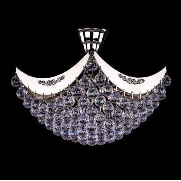Потолочная люстра Artglass FIONA II. NICKEL CE, 4xE14x40W, никель, прозрачный, металл, хрусталь Artglass Crystal Exclusive