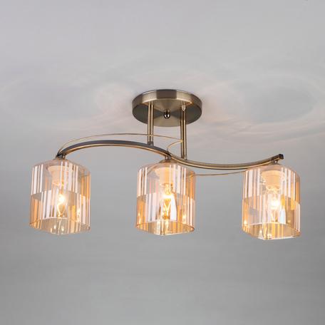 Потолочный светильник Eurosvet Susan 30124/3 античная бронза, 3xE27x60W, бронза, янтарь, металл, стекло