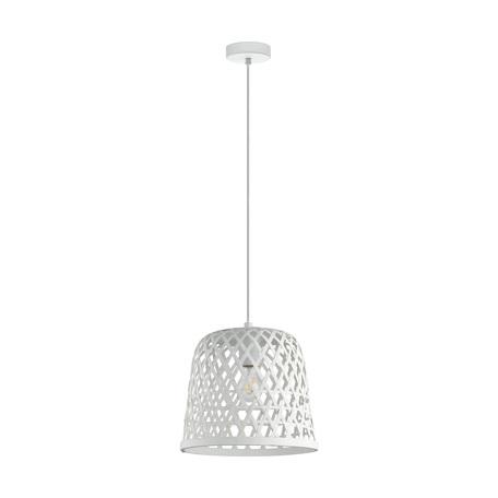 Подвесной светильник Eglo Kirkcolm 43111, 1xE27x60W, белый, металл, дерево