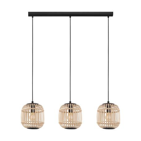Подвесной светильник Eglo Trend & Vintage Nature Bordesley 43217, 3xE27x28W, черный, коричневый, металл, дерево