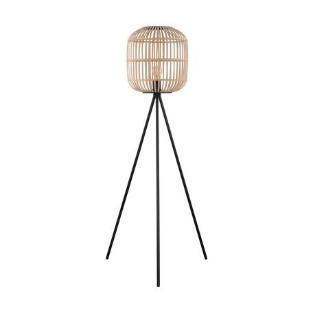 Торшер Eglo Bordesley 43219, 1xE27x28W, черный, коричневый, металл, дерево