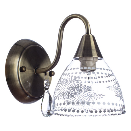 Бра Arte Lamp Rugiada A1658AP-1AB, 1xE14x60W, бронза, прозрачный, металл, стекло, хрусталь