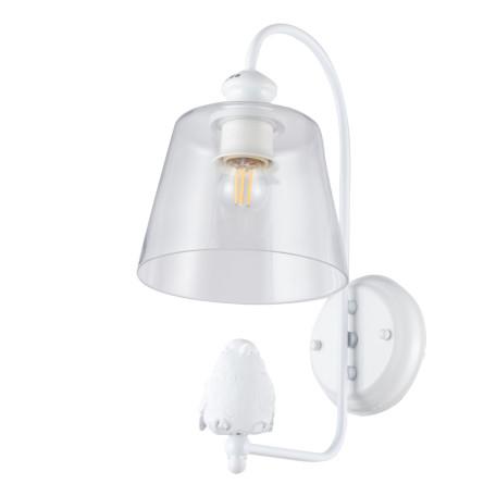 Бра Arte Lamp Passero A4289AP-1WH, 1xE27x40W, белый, прозрачный, металл со стеклом/пластиком, стекло