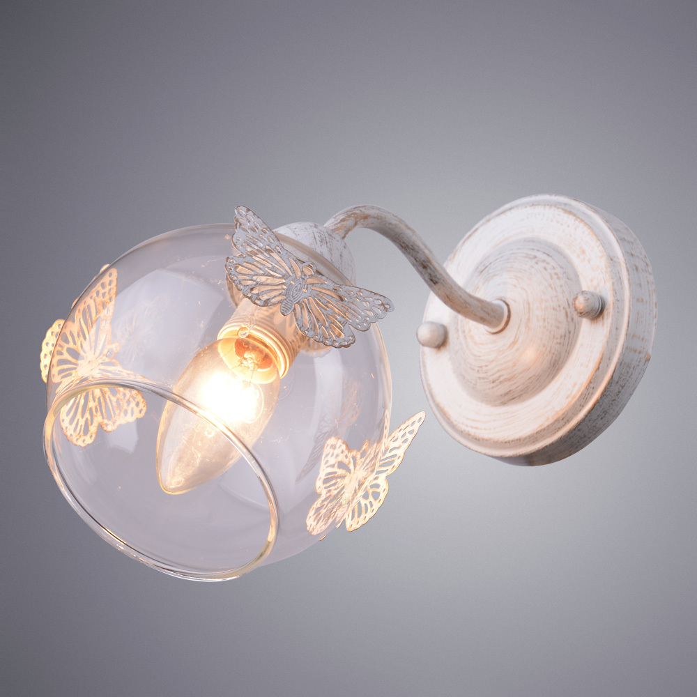 Бра Arte Lamp Alessandra A5004AP-1WG, 1xE14x40W, белый с золотой патиной, прозрачный, металл, стекло - фото 1