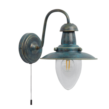 Бра Arte Lamp Fisherman A5518AP-1BG, 1xE27x60W, бирюзовый, прозрачный, металл, стекло