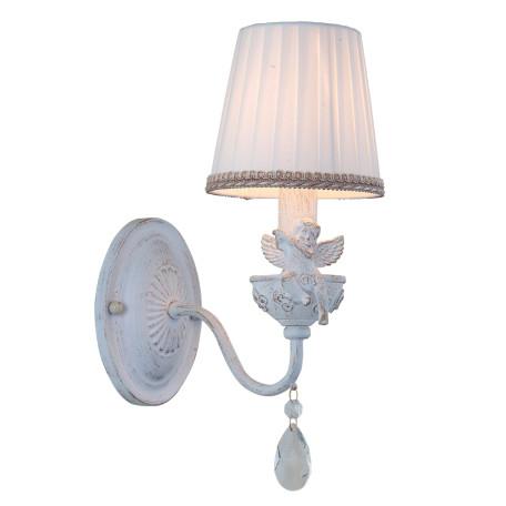 Бра Arte Lamp Cherubino A5656AP-1WG, 1xE14x40W, белый с золотой патиной, белый, прозрачный, металл с пластиком, текстиль, хрусталь