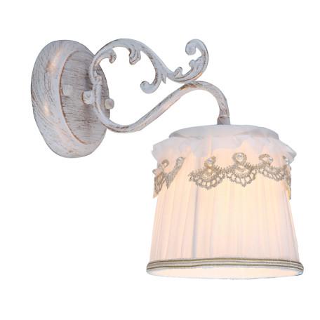 Бра Arte Lamp Merletto A5709AP-1WG, 1xE14x40W, белый с золотой патиной, белый, металл, текстиль