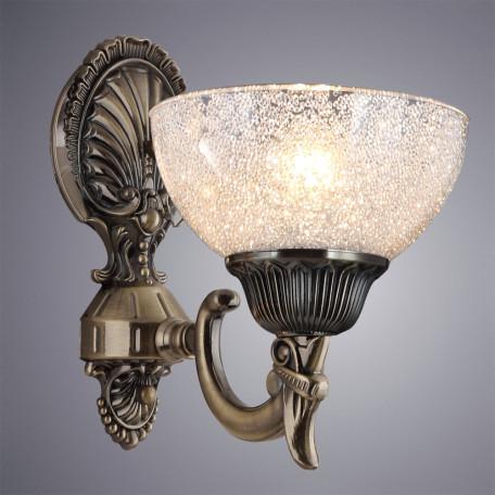 Бра Arte Lamp Fedelta A5861AP-1AB, 1xE27x60W, бронза, прозрачный, металл, стекло