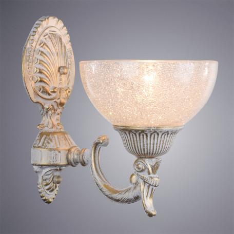 Бра Arte Lamp Fedelta A5861AP-1WG, 1xE27x60W, белый с золотой патиной, прозрачный, металл, стекло
