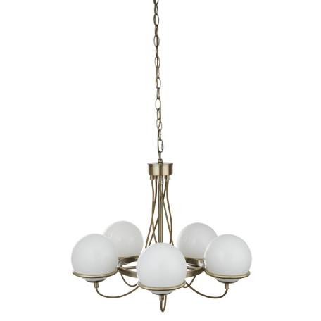 Подвесная люстра Arte Lamp Bergamo A2990LM-5AB, 5xE14x40W, бронза, белый, металл, стекло