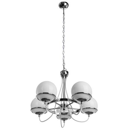 Подвесная люстра Arte Lamp Bergamo A2990LM-5CC, 5xE14x40W, хром, белый, металл, стекло