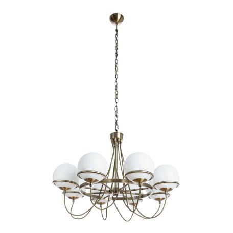 Подвесная люстра Arte Lamp Bergamo A2990LM-8AB, 8xE14x40W, бронза, белый, металл, стекло - миниатюра 1