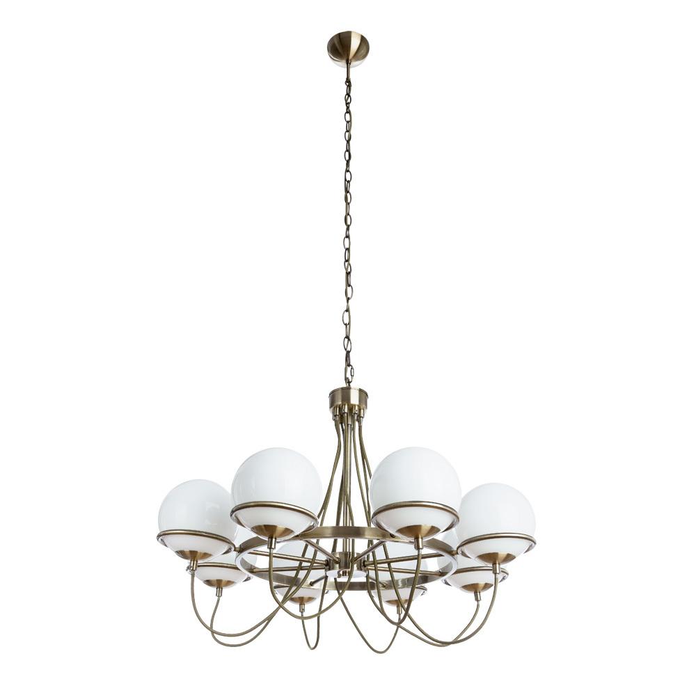 Подвесная люстра Arte Lamp Bergamo A2990LM-8AB, 8xE14x40W, бронза, белый, металл, стекло - фото 1
