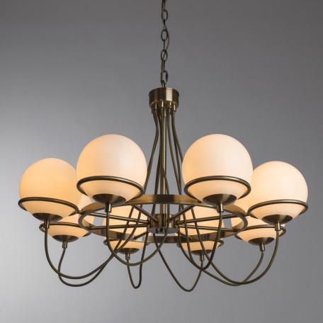 Подвесная люстра Arte Lamp Bergamo A2990LM-8AB, 8xE14x40W, бронза, белый, металл, стекло - миниатюра 2