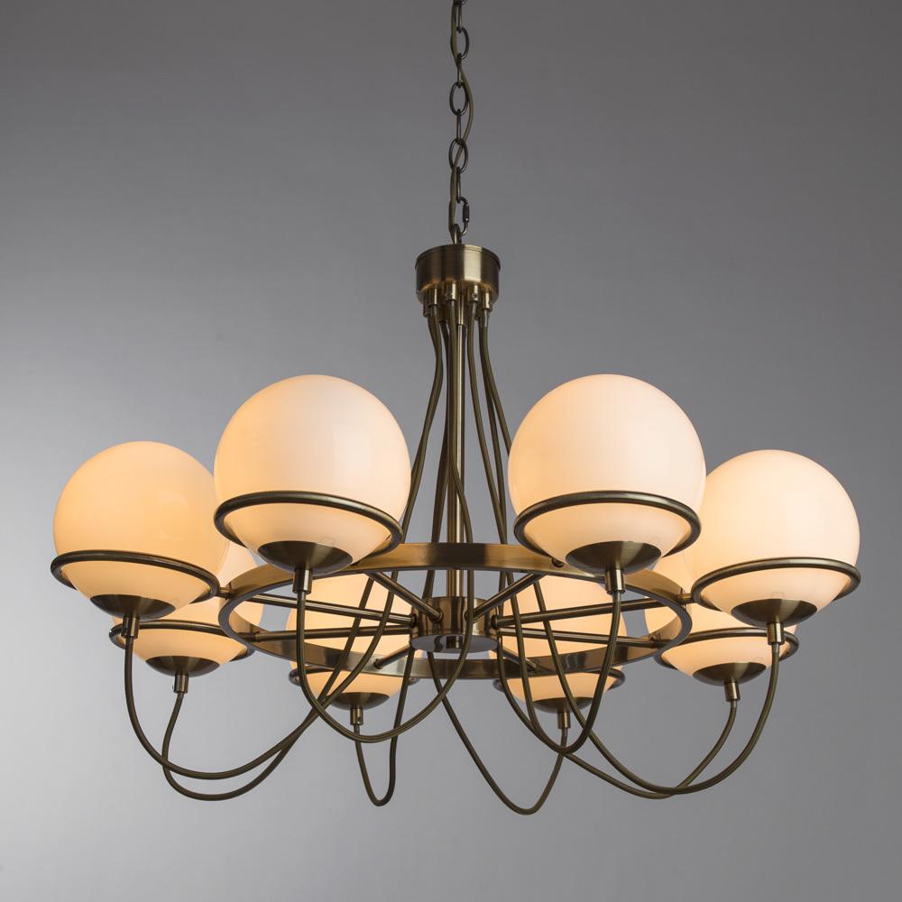Подвесная люстра Arte Lamp Bergamo A2990LM-8AB, 8xE14x40W, бронза, белый, металл, стекло - фото 2