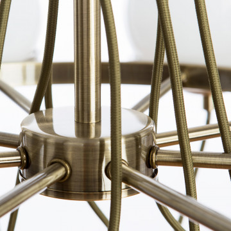 Подвесная люстра Arte Lamp Bergamo A2990LM-8AB, 8xE14x40W, бронза, белый, металл, стекло - миниатюра 5