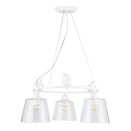 Подвесная люстра Arte Lamp Passero A4289LM-3WH, 3xE27x40W, белый, прозрачный, металл со стеклом/пластиком, стекло
