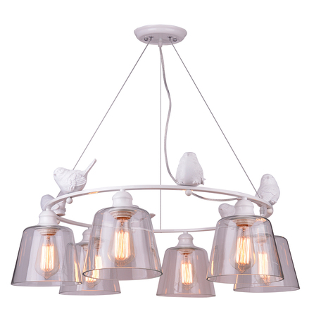 Подвесная люстра Arte Lamp Passero A4289LM-6WH, 6xE27x40W, белый, прозрачный, металл со стеклом/пластиком, стекло
