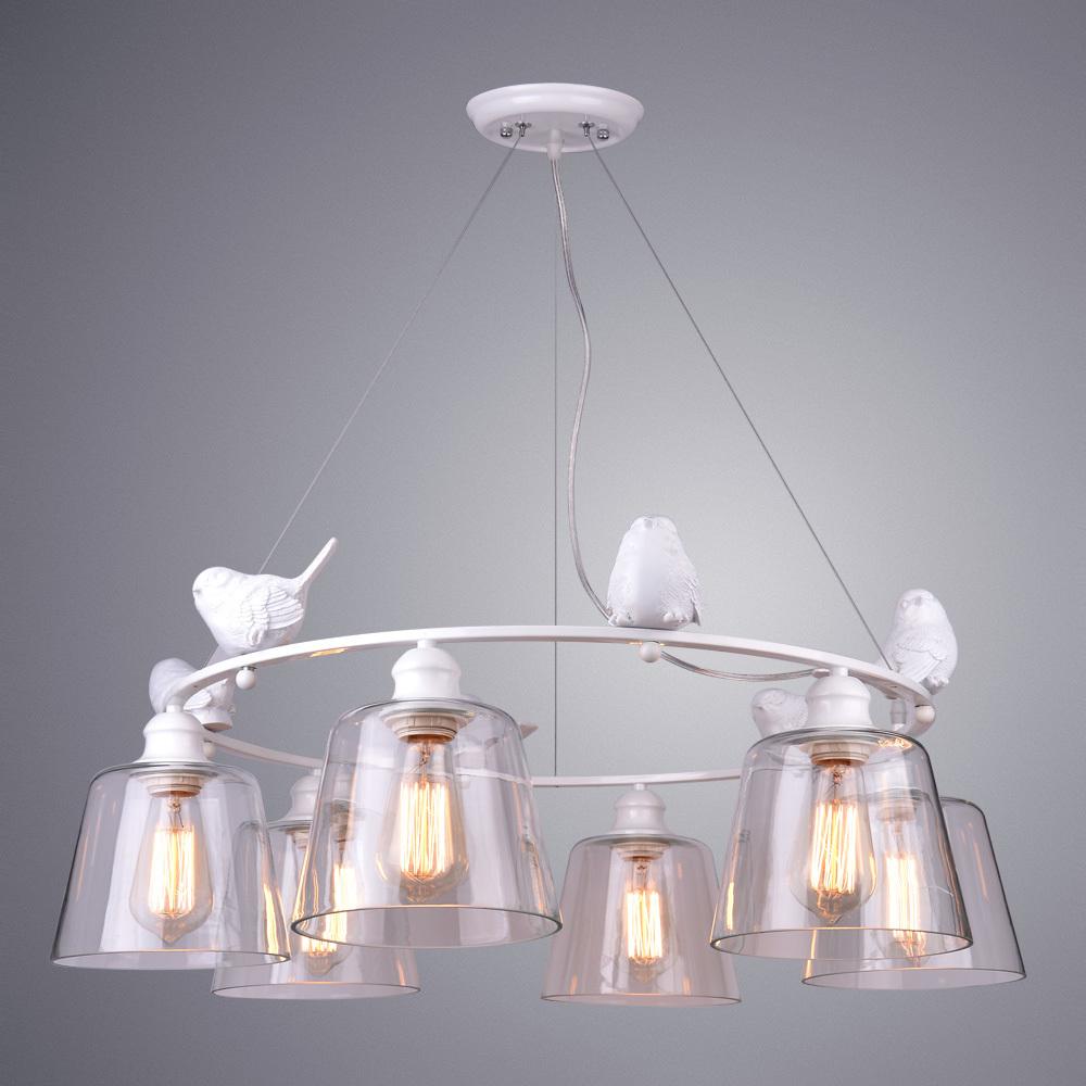Подвесная люстра Arte Lamp Passero A4289LM-6WH, 6xE27x40W, белый, прозрачный, металл с пластиком, стекло - фото 2