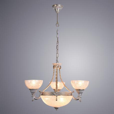 Подвесная люстра Arte Lamp Fedelta A5861LM-3-3WG, 6xE27x60W, белый с золотой патиной, прозрачный, металл, стекло