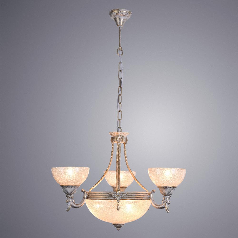 Подвесная люстра Arte Lamp Fedelta A5861LM-3-3WG, 6xE27x60W, белый с золотой патиной, прозрачный, металл, стекло - фото 1