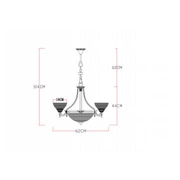 Схема с размерами Arte Lamp A5861LM-3-3WG