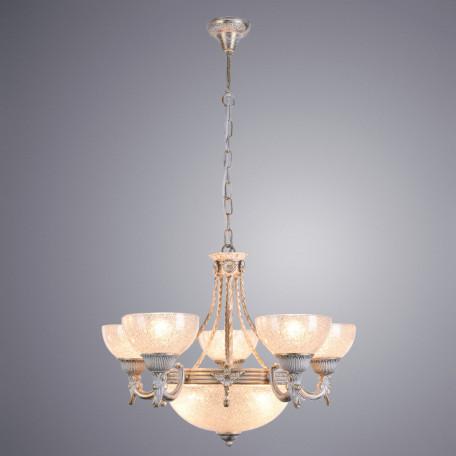 Подвесная люстра Arte Lamp Fedelta A5861LM-3-5WG, 8xE27x60W, белый с золотой патиной, прозрачный, металл, стекло