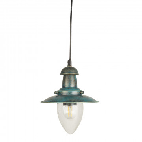 Подвесной светильник Arte Lamp Fisherman A5518SP-1BG, 1xE27x60W, бирюзовый, прозрачный, металл, стекло