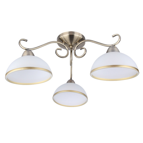 Потолочная люстра Arte Lamp Beatrice A1221PL-3AB, 3xE27x40W, бронза, белый, металл, стекло - миниатюра 1