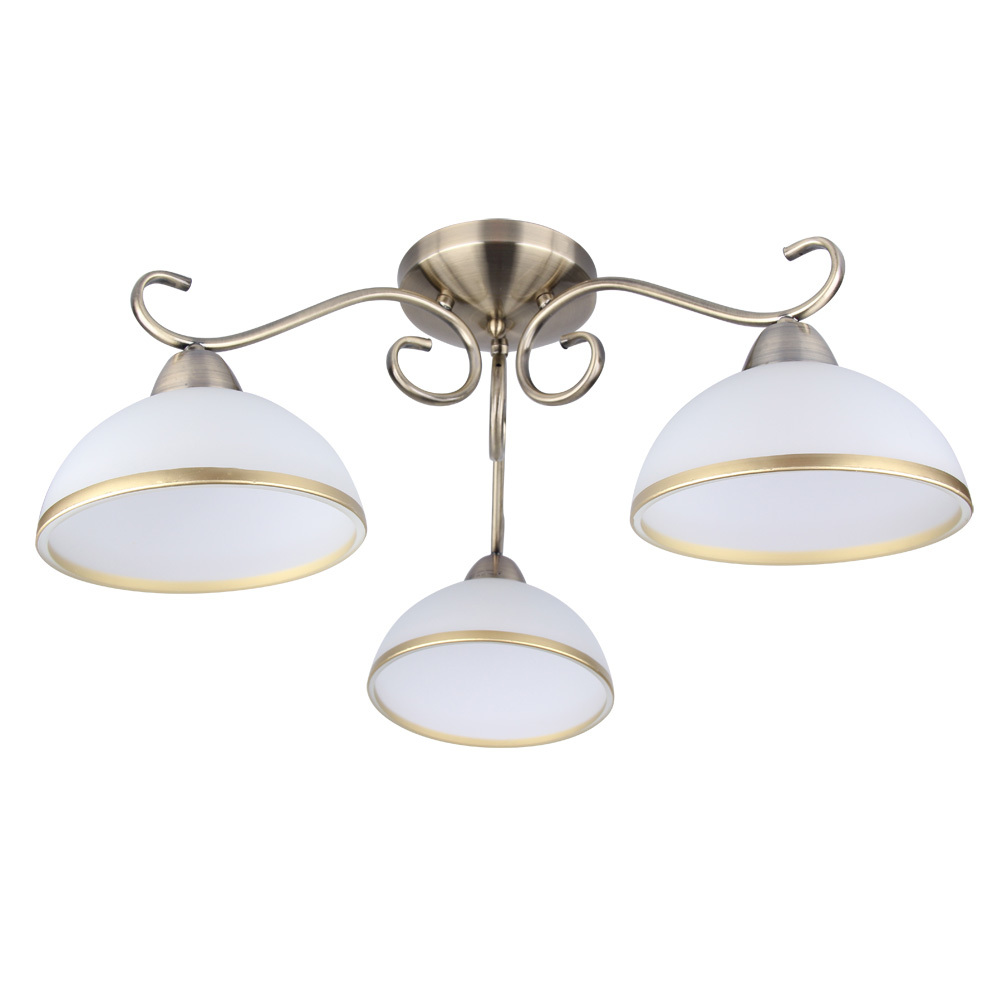 Потолочная люстра Arte Lamp Beatrice A1221PL-3AB, 3xE27x40W, бронза, белый, металл, стекло - фото 1