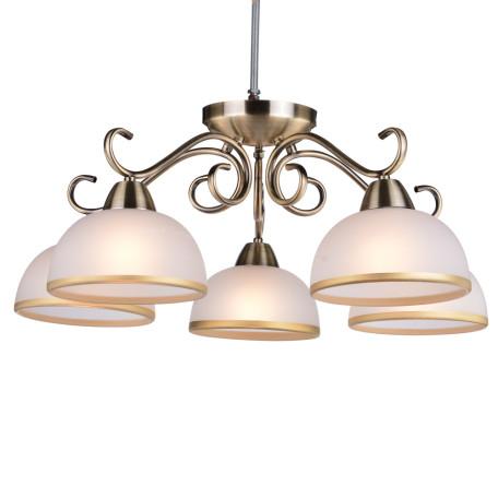 Потолочная люстра Arte Lamp Beatrice A1221PL-5AB, 5xE27x40W, бронза, белый, металл, стекло