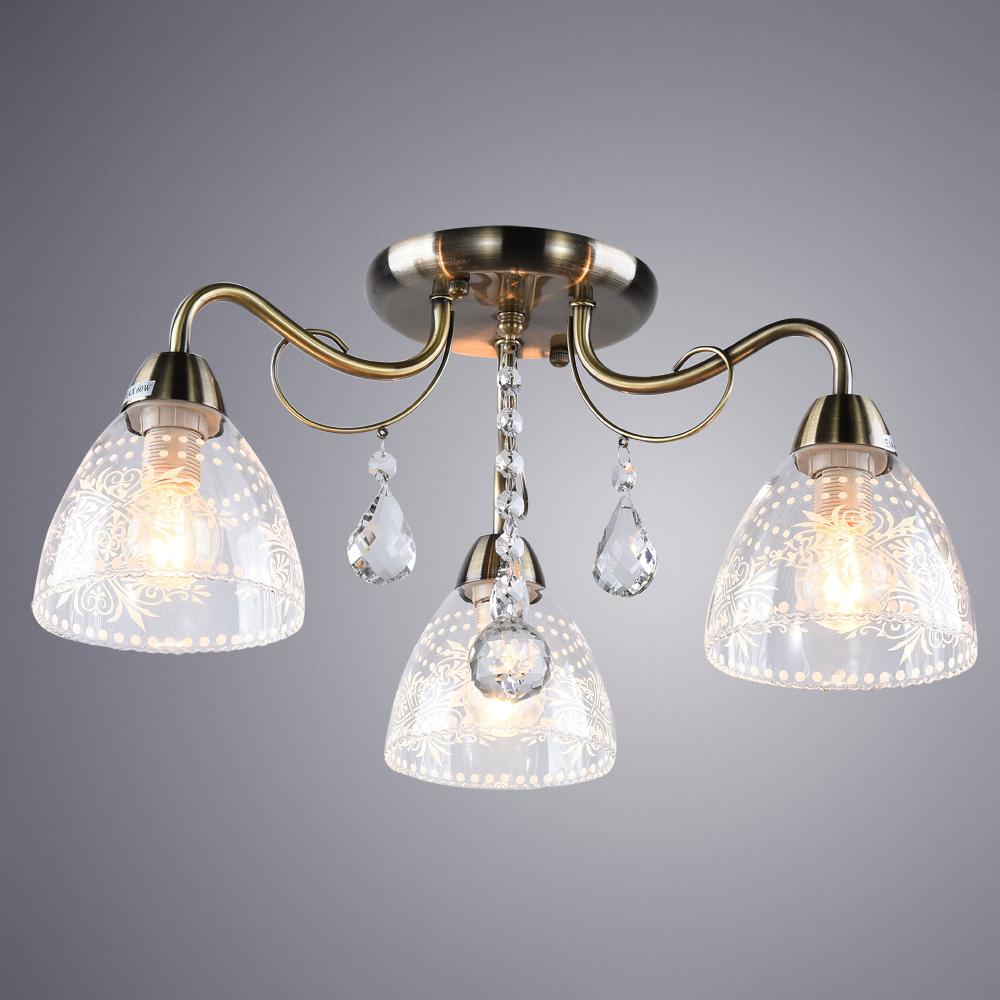 Потолочная люстра Arte Lamp Rugiada A1658PL-3AB, 3xE14x60W, бронза, прозрачный, металл, стекло, хрусталь - фото 2